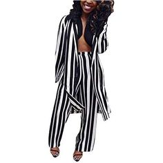 Womens 2 Piece Outfits Striped Open Front Kimono Cardigan and Wide Leg Pants Suits Long Pants, Wide Leg Pants, Bodycon Jumpsuit, Kimono Cardigan, 2 Piece Outfits, Long Sleeve Crop Top, Winter Outfits, Sexy Women, Rompers