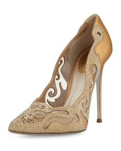 Crystal Laser-Cut 115mm Pump, Gold by Rene Caovilla at Neiman Marcus.