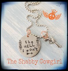 Items similar to The Hell I Won't Charm Necklace on Etsy Diy Jewelry Unique, Funky Jewelry, Metal Jewelry, Jewelry Accessories, Handmade Jewelry, Jewelry Ideas, Memorial Jewelry, Hand Stamped Jewelry, Jewelry Organization