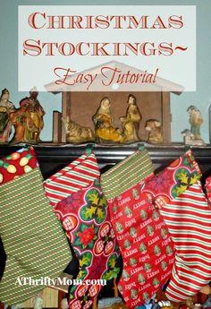christmas stockings, #diy, #easy, #christmas, #easycraft, #christmascraft, #thrifty, #thriftycraft, #sewing, #quick, #tutorial, #sewingtutorial, #thriftyChristmas