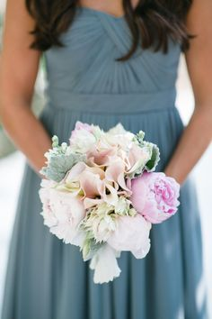 The bridesmaid bouquets for this blush garden wedding featured peonies, roses, calla lilies and textural blooms with soft greenery accents. | Bob Gail Events #bridesmaidbouquet #blushwedding Bridesmaid Bouquets, Wedding Bouquets, Wedding Dresses, Garden Wedding, Wedding Day, Blush Wedding Colors, Calla Lilies, Groom And Groomsmen, Boutonnieres