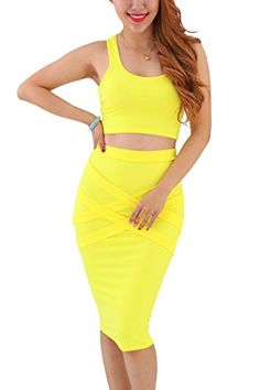 YMING Womens Sexy Bodycon Clubwear Two Pieces Party Dress Plus Size Yellow 2XL -- Want to know more, click on the image.