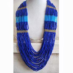 Blue Necklace/Statement Necklace/Beadwork Necklae/Bohemian Necklace/Chunky Necklace/Bib Necklace/Beaded Necklace/Beaded Jewelry