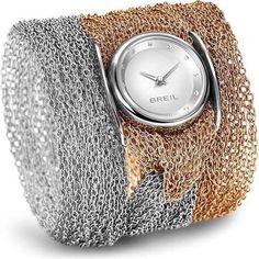 BREIL Mod. INFINITY Quartz Lady SS Case IP Gold. Mesh Bracelet IP Gold and Silver 30mm WR 5ATM   Watche.s