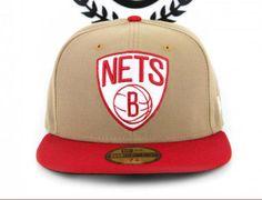 Brooklyn Nets Khaki-Scarlet 59Fifty Fitted Baseball Cap by NEW ERA x NBA