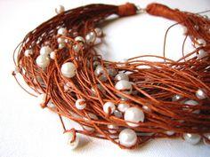Brown  Big  pearls linen necklace
