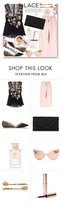 """""""Floral Lace Peplum Top"""" by queenvirgo on Polyvore featuring Marchesa, River Island, Giambattista Valli, Accessorize, Tory Burch, Linda Farrow and By Terry"""