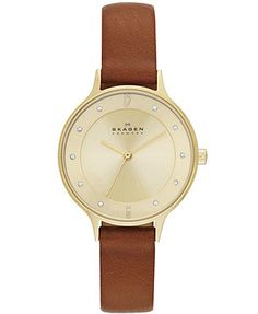 Skagen Denmark Women's Anita Saddle Leather Strap Watch 30mm SKW2147