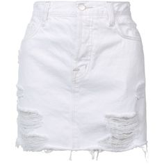 J Brand short denim skirt (3.040 ARS) ❤ liked on Polyvore featuring skirts, mini skirts, white, white skirt, white denim mini skirt, j brand skirt, short skirts and j brand