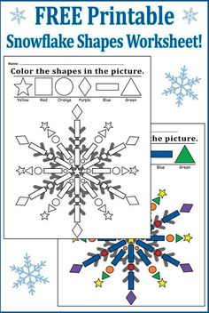 """Color the Shapes in the Snowflake"" FREE Printable Worksheet!"