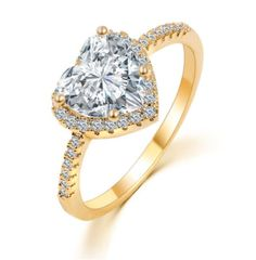 Romantic Heart Ring Gold Color Wedding by BeautifulJewelryByMk