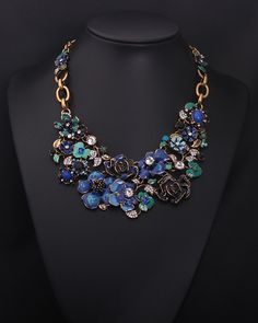 Wholesale colorful flowers with crystal pendant chunky bib necklace online