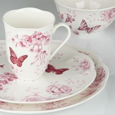Lenox 841998 Butterfly Meadow Toile - Pink, 4 Piece Place Setting