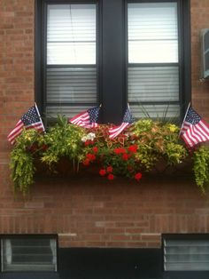 Window Box...with flowering greenery &...flags.