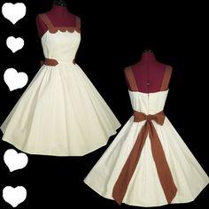 Vintage 50s White Brown Full Skirt Dress XS S