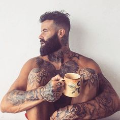 Full body tattoo ideas for men. Full Body Tattoo, Body Tattoos, Tattoo Ink, Hairy Men, Bearded Men, Bearded Tattooed Men, Bart Tattoo, Sexy Bart, Moustache