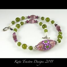 Polymer Clay Purple Flower Bead Necklace by KateTractonDesigns, $99.00