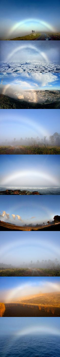 A fog bow is a similar phenomenon to a rainbow, however, as its name suggests, it appears as a bow in fog rather than rain.