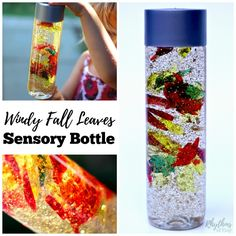 Calm down sensory bottles like this windy fall leaves sensory bottle are… Fall Arts And Crafts, Autumn Crafts, Fall Crafts For Kids, Fun Crafts, Kindergarten Crafts, Preschool Activities, Preschool Art, Autumn Activities, Toddler Activities