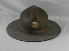 Vintage WWII Drill Sergeant Hat with Insignia Hat Pin 6 7/8 Campaign Military Army Marine Instructor Trooper Smokey the Bear by WesternKyRustic on Etsy