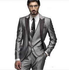 2016 Custom Made Groom Tuxedo Silver Suit Peaked Lapel Best man Groomsman Men Wedding/Prom Suits Bridegroom Jacket+Pant+Vest+Tie