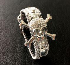 Skull bracelet cuff - womens skull cuff.  Silver skull bracelet. by ChristyKeysCreations on Etsy