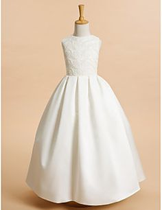A-Line+Ankle+Length+Flower+Girl+Dress+-+Lace+Satin+Sleeveless+Jewel+Neck+with+Lace+by+LAN+TING+BRIDE®+–+AUD+$+198.90