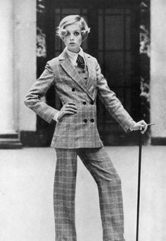 Twiggy in check plaid three piece suit shirt and tie. Androgynous. Sixties. Tomboy. Chic.