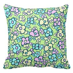 Rest your head on one of Zazzle's Green decorative & custom throw pillows. Floral Throws, Floral Throw Pillows, Cartoon Flowers, Custom Pillows, Pink Yellow, Fabric, Pattern, Color, Design