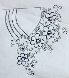 Black and white combo. Amazing it would look Hand Embroidery Design Patterns, Hand Embroidery Dress, Embroidery On Kurtis, Kurti Embroidery Design, Embroidery On Clothes, Embroidery Flowers Pattern, Embroidery Works, Hand Embroidery Stitches, Ribbon Embroidery