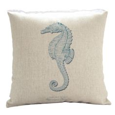 Pillow Cases Standard Size, CaseShell® Seahorse Pattern Cotton Linen Square Throw Pillow Case Decorative Cushion Cover Pillowcase Pillowslip for Sofa 18x18 Inch -- Trust me, this is great! : FREE Home Decor
