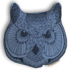 Owl Face Pillow Blue  by The Rise And Fall