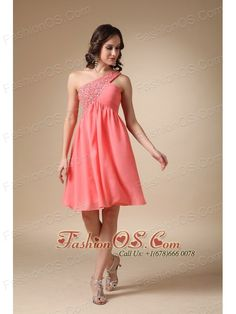 Watermelon Red A-line One Shoulder Knee-length Chiffon Beading Prom / Homecoming Dress- $207.19  http://www.fashionos.com  discounted prom bridesmaid dress | one shoulder short prom dress | 2013 2014 custom made prom evening gown | beach prom dress | chiffon short prom dress | cheap kohls prom celebrity dresses websites | plus size prom bridesmaid dress | elegant prom celebrity gowns | short prom dress with one shoulder strap | purchase one shoulder short prom dress online |