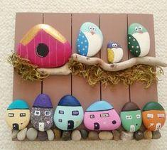 Kuşlar, evler...neler, neler. ... #taşboyama #taşsanatı #handmade #handpainted…