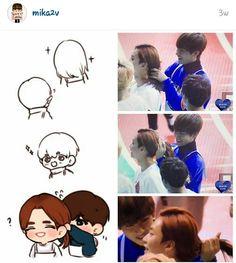 Taehyung playing with Jeonghan's hair at ISAAC