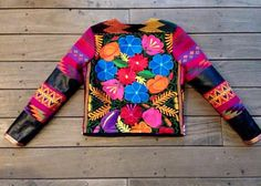 LA MATILDE: Chamarra Rutila with mexican embroidery