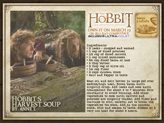 Hobbit's Harvest Soup - Hobbit & Lord of the Rings Food - Hobbit's Harvest Soup - Soup Recipes, Cooking Recipes, Party Recipes, Recipies, Viking Food, Hobbit Party, Medieval Recipes, Into The West, Food Themes