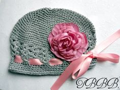 Baby Girl Grey Crochet Hat,crochet beanie -Shabby Chic Vintage Look Flower - Fits infants to toddlers - Baby shower. $14.50, via Etsy.