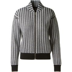 Stella Mccartney Houndstooth Virgin Wool Jacket ($520) ❤ liked on Polyvore featuring outerwear, jackets, zipper jacket, stella mccartney, hounds tooth jacket, stella mccartney jacket and zip jacket