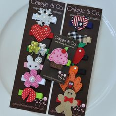 Baby's First Birthday Gift Girl Hair Clips by CelesteandCompany