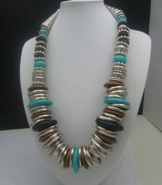 Turquoise Metal Wooden Disc Necklace Italy