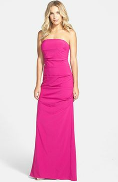 Nicole Miller Pleated Strapless Gown | Nordstrom pink brides maid dress