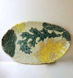 Oval Ceramic Plate multi colored Floral motif Multi Purpose