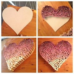 Visually appealing ... Great idea for Valentine's Day. Worth saving, right? Ombre wine cork heart. Click for my tutorial!