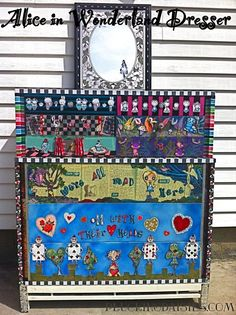 Alice in Wonderland Dresser with Looking Glass - For all of us Alice enthusiasts - Step by Step instructions for creating this Alice in Wonderland Dresser - I think it's amazing - Difficult, yes...but amazing - I would love to try something like this!