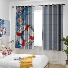 hengshu Buoy Living Room Curtains 2 Panel Sets Welcome on Board Message on Lifebuoy with Fishing Net Seashell Wood Floor of Boat Home Decor Blackout Curtains x Inch Dust Blue Red Unique Curtains, Bamboo Curtains, Beaded Curtains, Door Curtains, Beach Bedroom Decor, Lifebuoy, Large Beds, Shower Curtain Rings