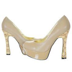 Beige Textured Pattern Pump Heels,  - Sexyback Boutique - 1