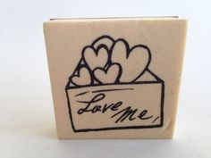 Love Me Postal Envelope with Hearts Vintage Rubber Stamp - Card Making - Crafts  161012B by SirStampinton