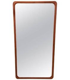 Large Solid Teak Mirror with Rounded Corners from Denmark - White Trash NYC