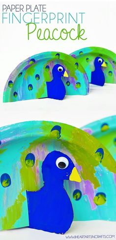 Paper Plate Fingerprint Peacock Kids Craft - I Heart Arts n Crafts Paper Plate Peacock. Bright and colorful kids' craft. Should you have a passion for arts and crafts you really will appreciate this cool site! Craft Activities For Kids, Preschool Crafts, Projects For Kids, Fun Crafts, Crafts For Kids, Arts And Crafts, August Kids Crafts, Art Projects, Bird Crafts